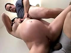 Pregnant cutie gets double cumload