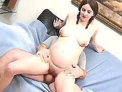 Teen pregnant girl gets cum on face